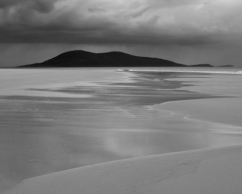 Picture of Ceapabhal taken from Rosamol beach on the Isle of Harris (in Black and White)