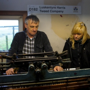 Picture of Donald John McKay of the Luskentyre Harris Tweed Company and Mhairi