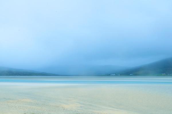 Seilebost Isle of Harris in a misty rainy day