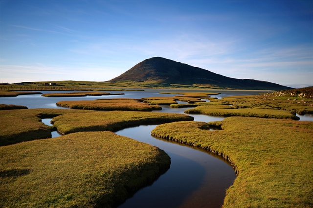 A stream of water runs through a grass covered salt marsh to a hill in the distance.