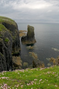 A stack rock pillar beside a cliff  - looking down on to it.