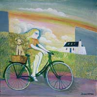 Picture of a girl with long blond hair riding a bicycle with a small dog in a basket on the back and in the background is a white cottage and a rainbow overhead