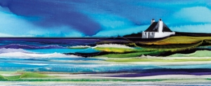 Coastal scene with white footage on the shore on the right hand side