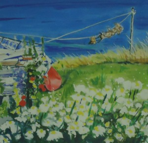 A garden of flowers and a washing line from which a line of onions is hanging.